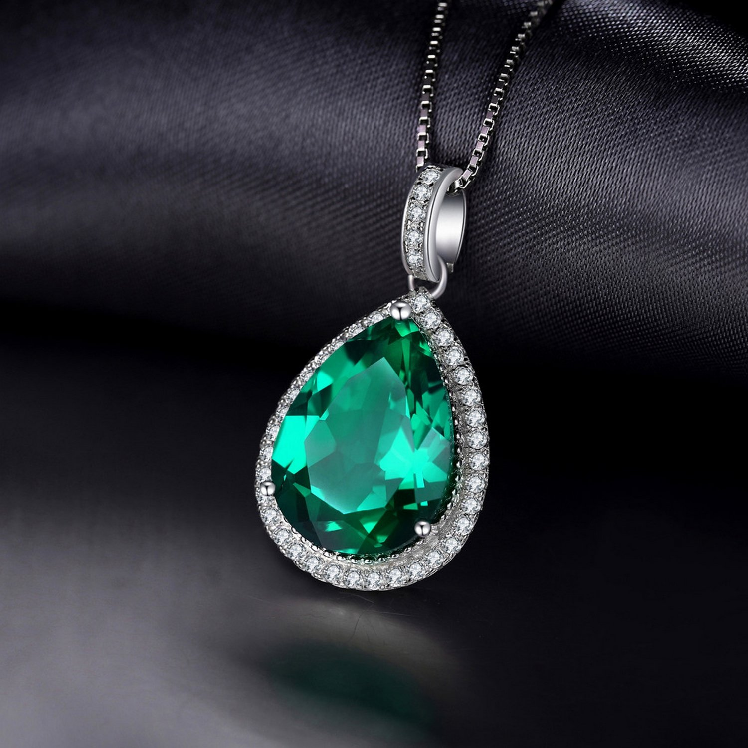 CS-DB Jewelry Silver Luxury Pear Cut 7.4ct Created Green Emerald Chain Charm Pendants Necklaces