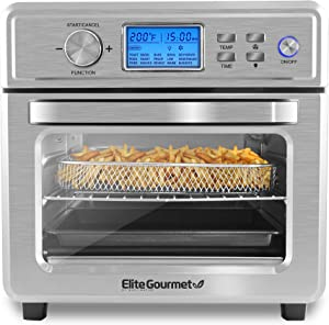 Elite Gourmet EAF8190D Maxi-Matic Digital Programmable Fryer Oven, Oil-Less Convection Oven Extra Large 21L. Capacity, Grill, Bake, Roast, Air Fry, 1700-Watts, Stainless Steel (Renewed)
