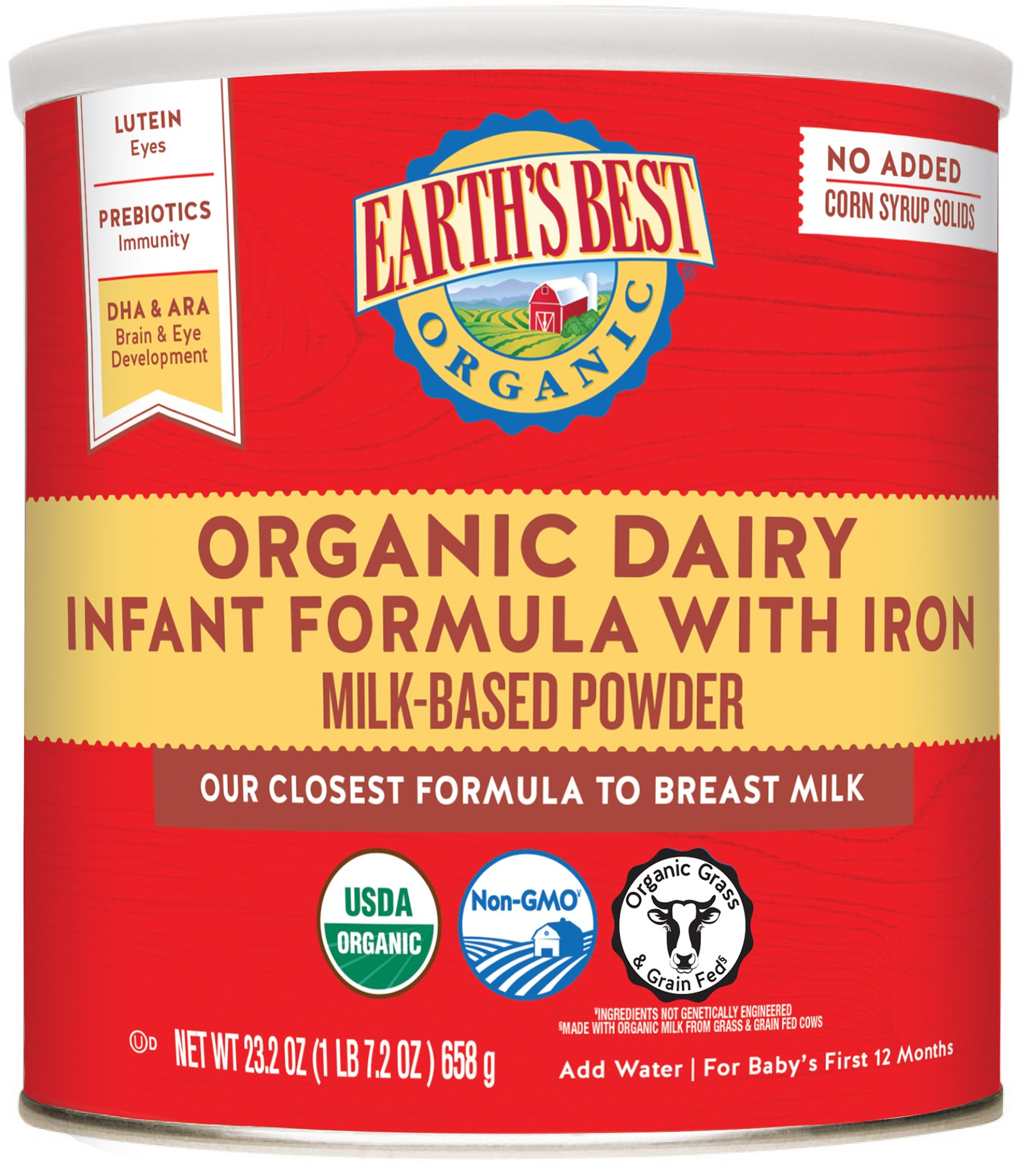 Earth's Best Organic Premium Dairy Infant Formula with Iron, 23.2 Ounce (Pack of 4)