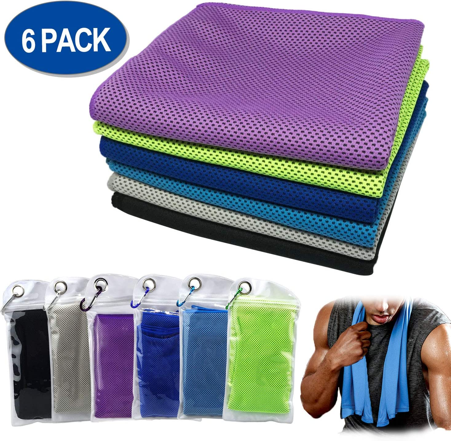 Cooling Towels for Neck 4 Pack / 6 Pack, Microfiber Towel Instant Cooling Relief, Soft Breathable Chilly Towel Lightweight for Workout, Camping, Travel, Gym,Yoga