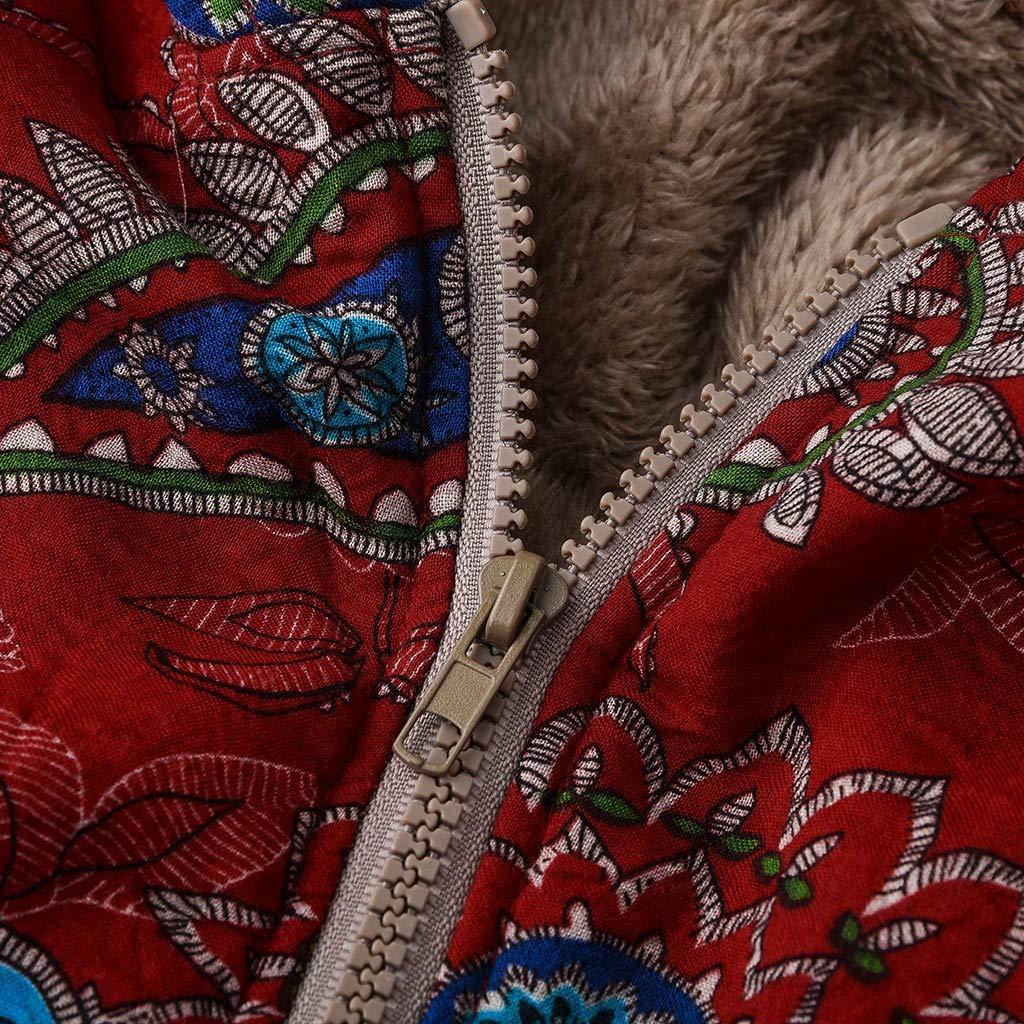 Winterjacke Damen Lang Warm Dicker Mantel,Kanpola Winter Vintage Blumendruck Outwear Gro/ßE Gr/ö/ßEn Pl/üSchjacke Beil/äUfige Kurzmantel mit Kapuze Taschen