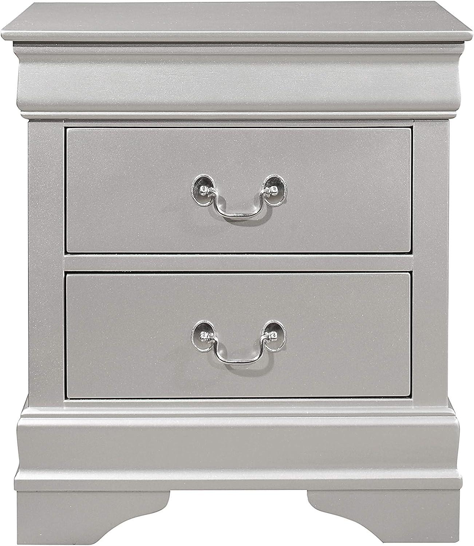 Global Furniture USA Marley, Nightstand, Silver