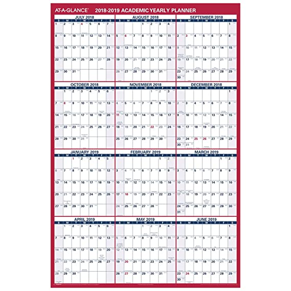 amazoncom at a glance 2018 2019 academic year wall calendar x large 32 x 48 erasable verticalhorizontal reversible pm36ap28 office products