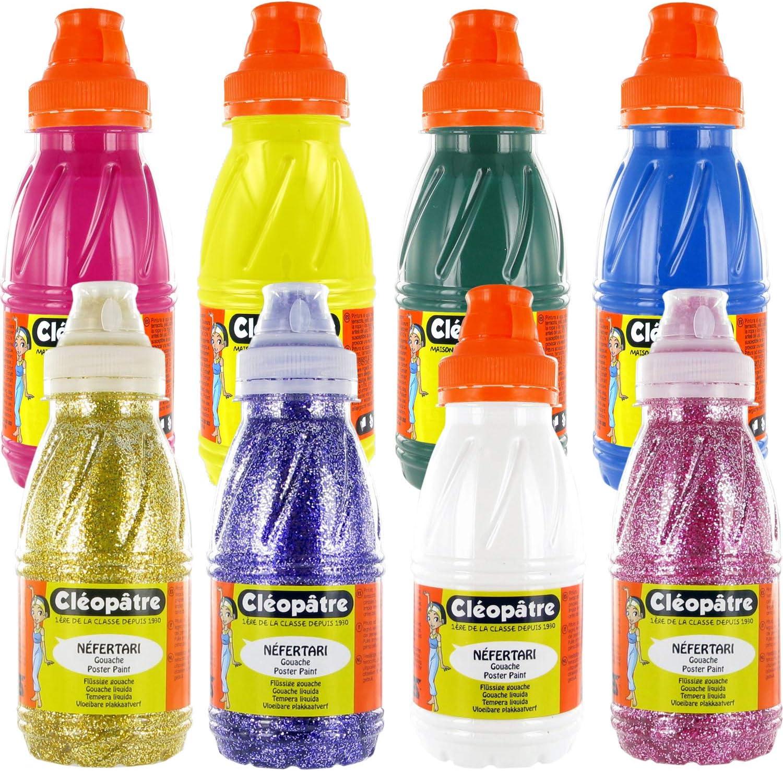 Cléopâtre - Pinturas gotas y purpurina, 8 colores, 8 botes de 250 ml: Amazon.es: Hogar