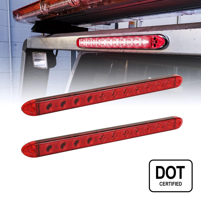 16' 11 LED Red Trailer Light Bar [Waterproof - IP65] [DOT Compliant] [Reflective Lens] [Park/Brake/Turn] ID Marker Brake Tail Light for Trucks ONLINE LED STORE