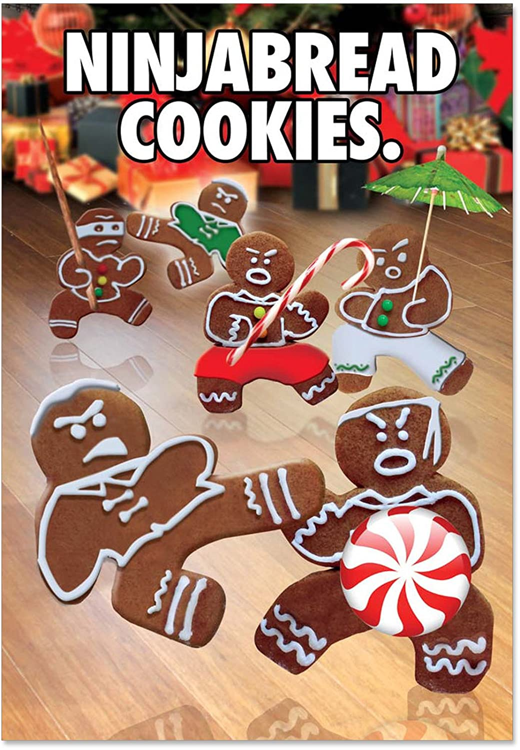 12 'Ninjabread Cookies' Boxed Christmas Cards with Envelopes 4.63 x 6.75 inch, Hilarious Gingerbread Men Doing Martial Arts Holiday Notes, Gingerbread Man Kung Fu Fighting Cards, Holiday Humor B5982