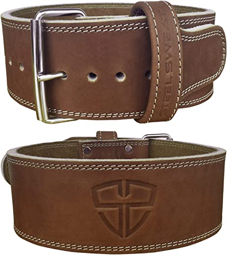 Steel Sweat Weight Lifting Belt - 4 Inches Wide by 10mm - Single Prong Powerlifting Belt That's Heavy Duty - Vegetable Tanned Leather - Hyde