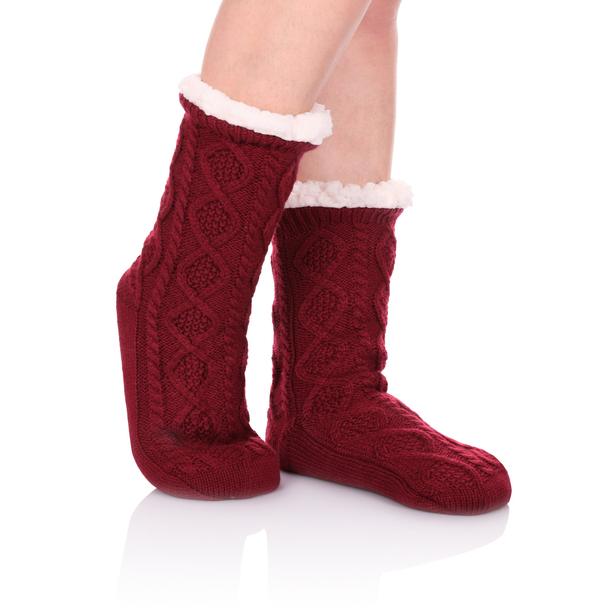 HERHILLY Women Cable Knit Slipper Socks - Super Soft Warm Fuzzy Home Socks with Gripper (Rose Red)