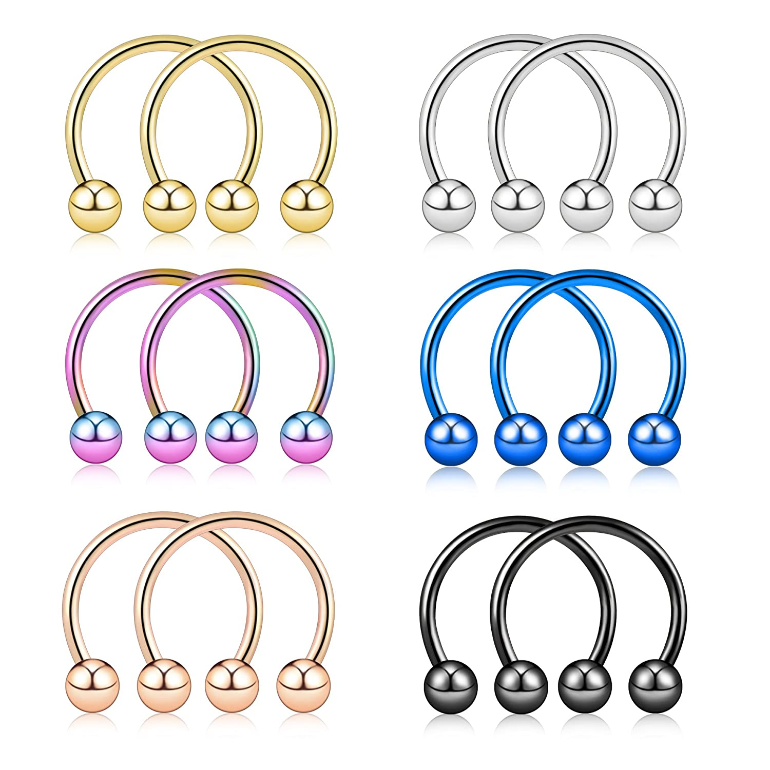 Tornito 12PCS-30PCS 14G 16G Stainless Steel Nose Rings Horseshoe Hoop Rings Septum Lip Cartilage Helix Tragus Piercing Ring NP09C-16G