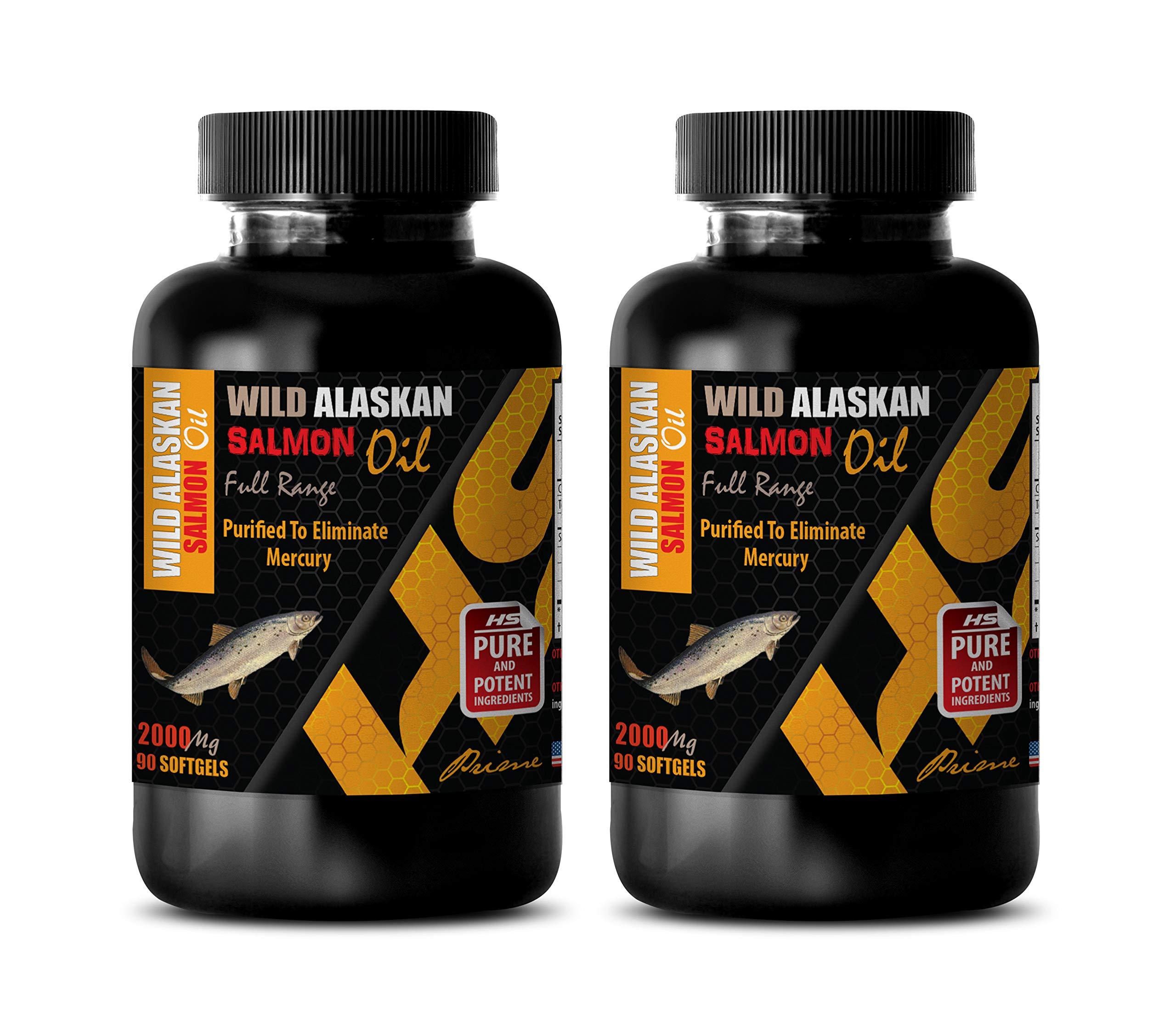 Brain Health Omega - Wild Alaskan Salmon Oil - Full Range 2000Mg - Fish Oil Bulk Supplements - 2 Bottles 180 Softgels