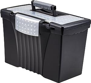 Storex Portable File Box with Organizer Lid, 17.13 x 9.63 x 11 Inches, Letter/Legal, Black (61510U01C)