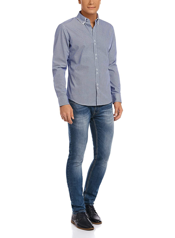oodji Ultra Uomo Camicia in Cotone con Finiture a Contrasto sul Colletto