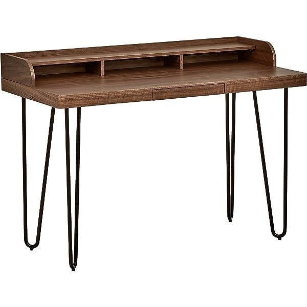 Marca Amazon - Rivet - Escritorio de madera curvado estilo Mid ...