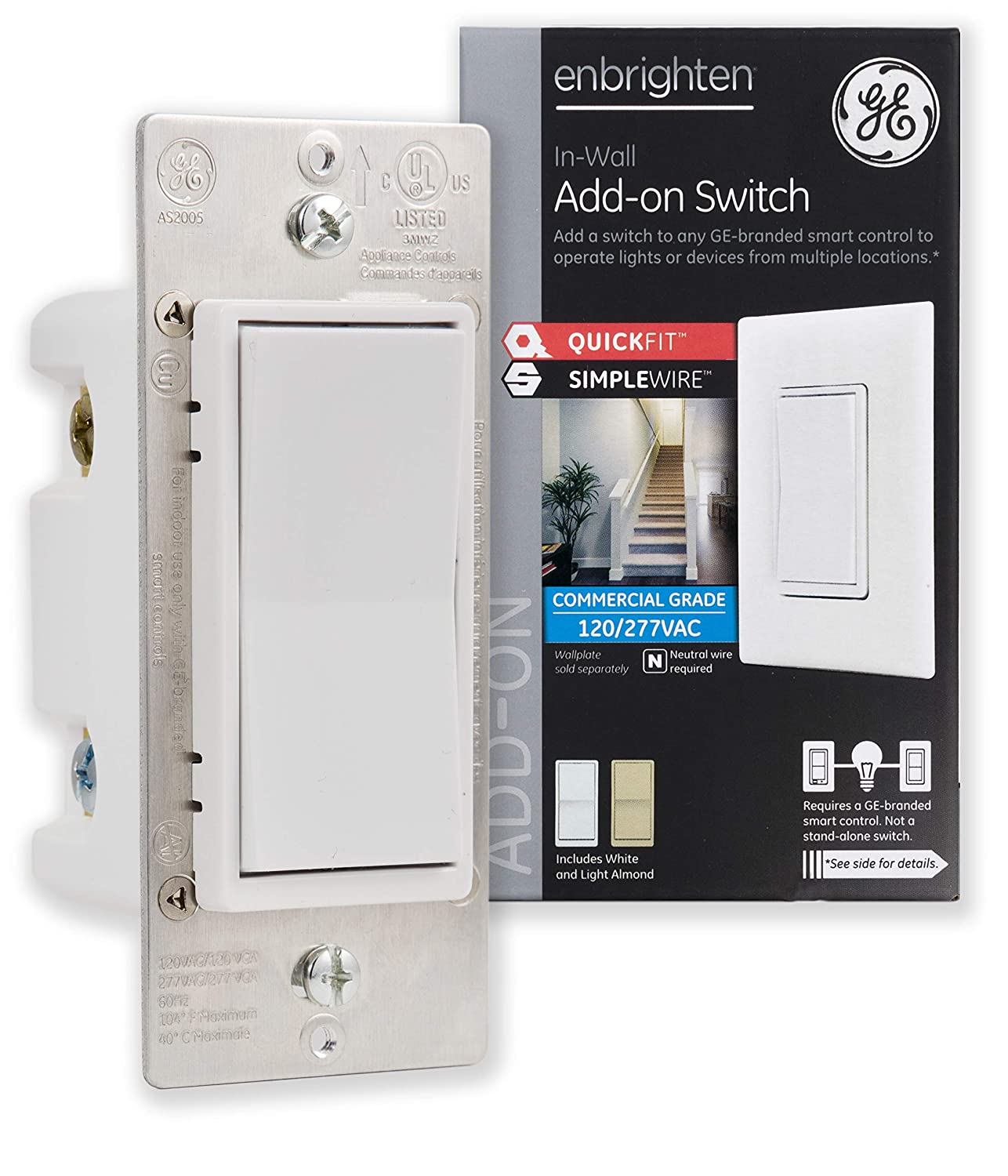 GE Enbrighten Add QuickFit and SimpleWire, in-Wall Paddle, Z-Wave ZigBee Wireless Smart Lighting Controls, NOT A STANDALONE Switch, 46199, White & Light Almond