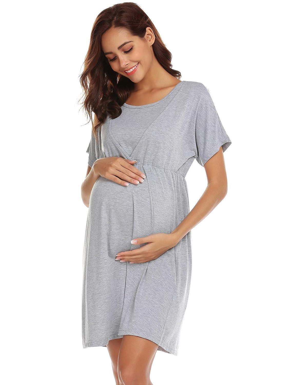 42421b4808aa0c Kisshes Damen Stillnachthemd Kurzarm Baumwolle Umstandsnachthemd Umstands  Kleider für Schwangere Nachthemd Stillfunktion Umstandsmode 30%OFF