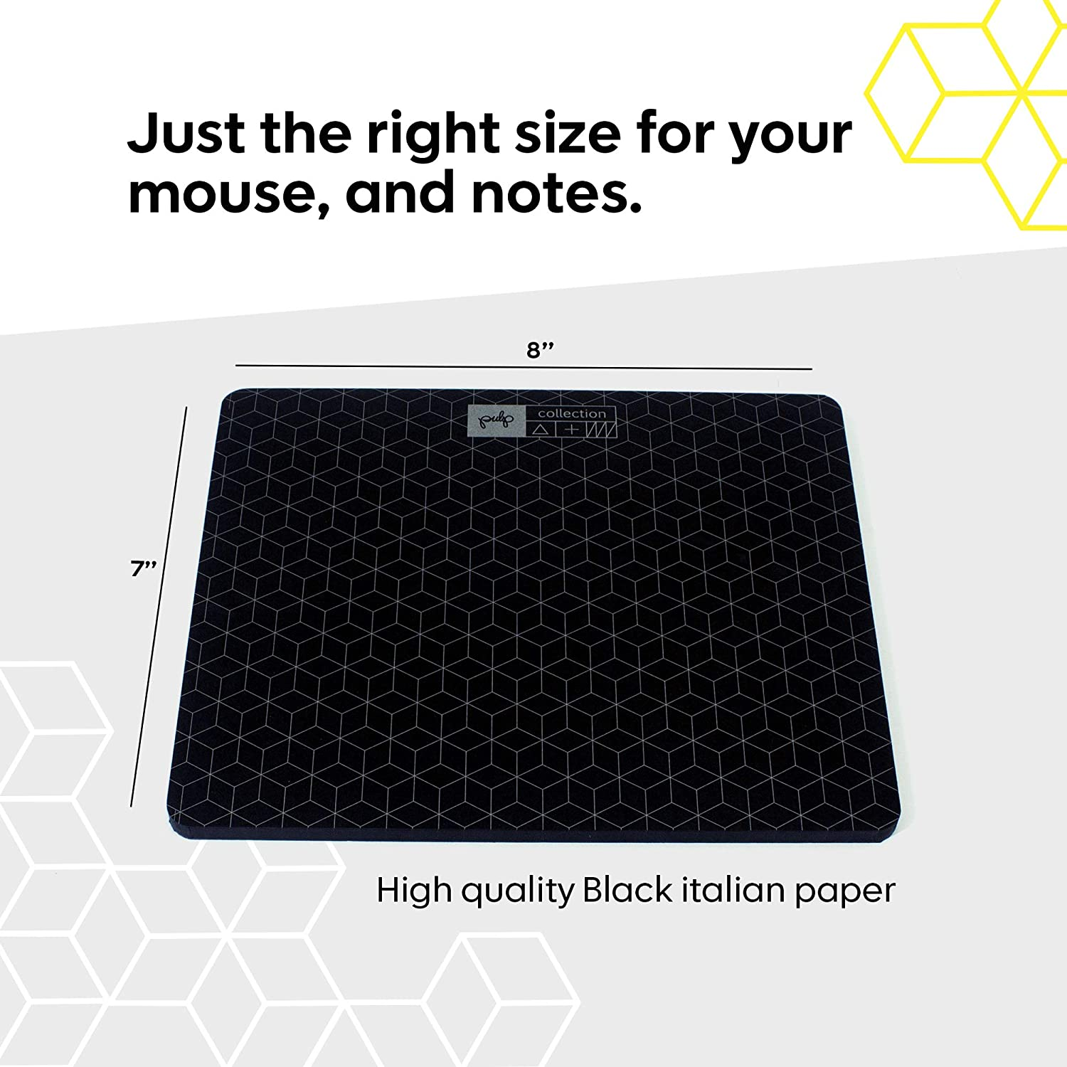 9 x 7 in Black Computer Mouse Pad with Black Scratch Paper and White Pencil Paper Mouse Pad with 60 Tear Off Sheets of Quality Luxury Paper for Smooth Writing /& Scrolling Pulp-Shop Mouse Note Pad