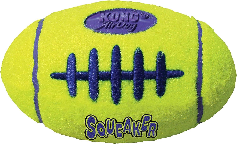 KONG - AirDog Squeaker Football - Juguete sonoro y saltarín, Tejido Pelota de Tenis - para Perros Medianos