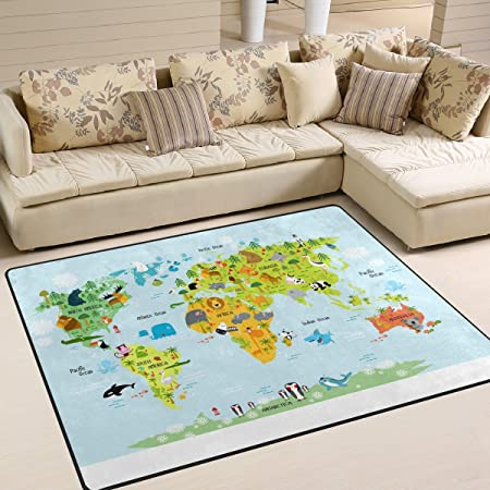 INGBAGS Super Soft Modern Map Of The World With Animals Area Rugs Living  Room Carpet Bedroom