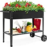 Best Choice Products Elevated Mobile Raised Ergonomic Metal Planter Garden Bed for Backyard, Patio w/Wheels, Lower Shelf, 38x