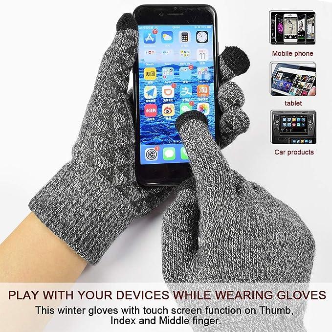 UMIPUBO M/ütze Schal und Handschuh Set Unisex Winter Warm Thermo Strickm/ütze Halsw/ärmer und Touchscreen Handschuhe Geschenk Set