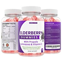 Sambucus Elderberry Gummies with Propolis, Echinacea & Vitamin C for Kids and Adults - 770MG High Potency Cold and Flu Relief - Antioxidant Black Edlerberry Gummy's Chewable Supplement
