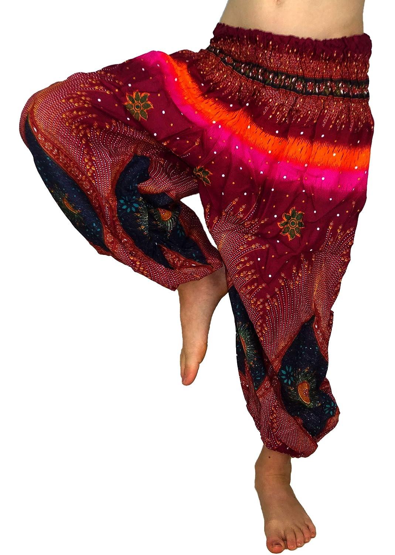 MADE IN ZEN Sarouel Enfant 3//4 Ans Mixte Fille Gar/çon Pantalon Aladin Harem Pant Boho Hippie Ethnique Imprim/é Taille L Rose Rouge Bordeaux Orange