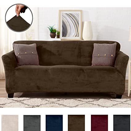 Great Bay Home Modern Velvet Plush Strapless Slipcover. Form Fit Stretch,  Stylish Furniture Cover