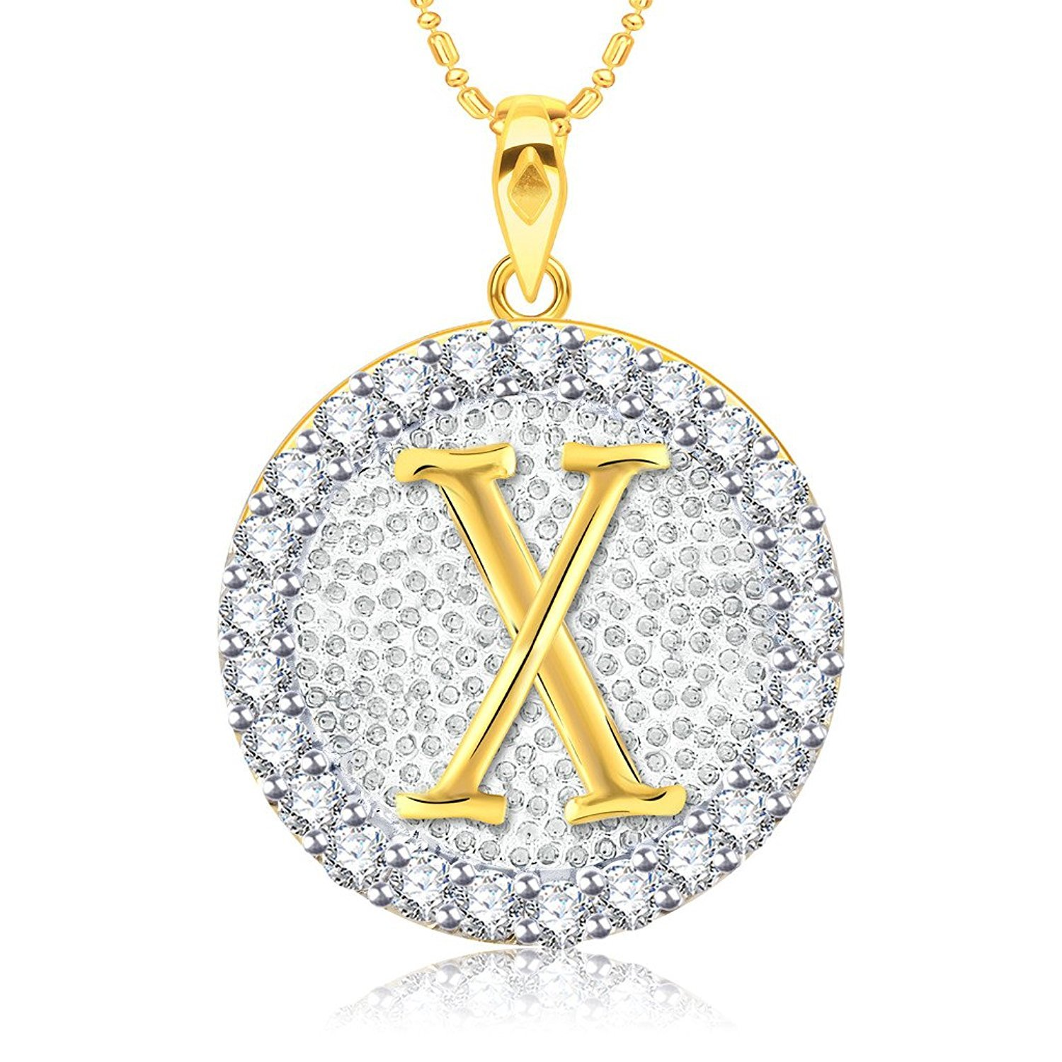 Simulated Diamond Studded Fashion Initial Alphabet Letter X Pendant Necklace in 14K Yellow Gold Plated With Box Chain