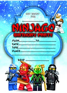EBSR NINJAGO LEGO CHILDRENS BIRTHDAY PARTY INVITES