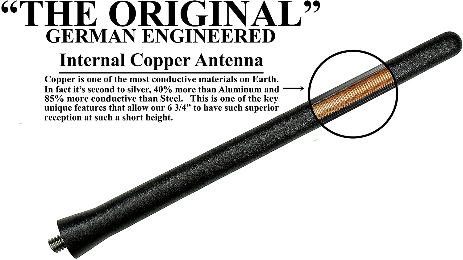 AntennaMastsRus - Car Wash Proof Short Rubber Antenna Premium Reception Internal Copper Coil German Engineered 2015-2020 The Original 6 3//4 Inch is Compatible with Chevrolet Colorado