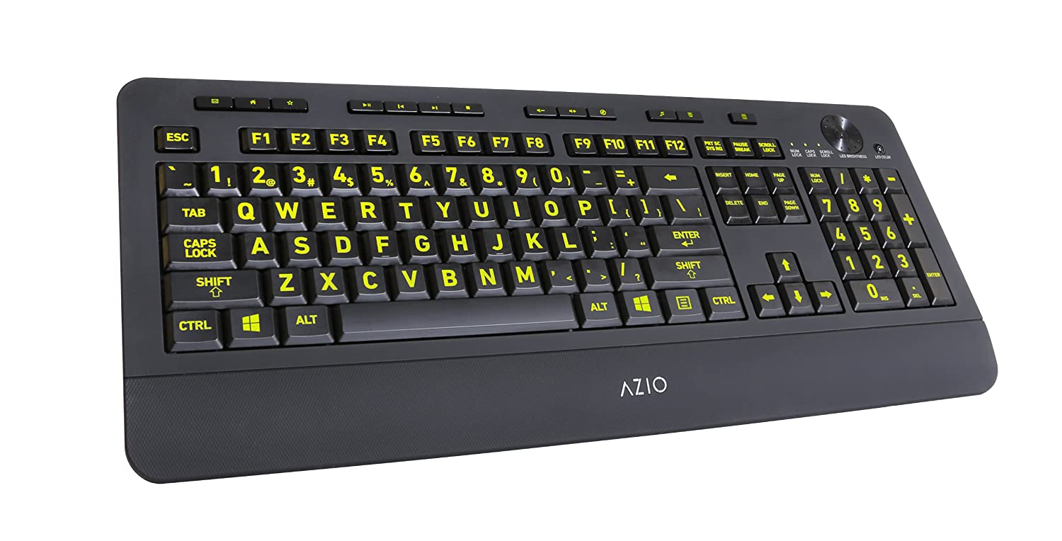 Amazon azio vision backlit usb keyboard with large print keys amazon azio vision backlit usb keyboard with large print keys and 5 interchangeable backlight colors kb506 wired computers accessories biocorpaavc Choice Image
