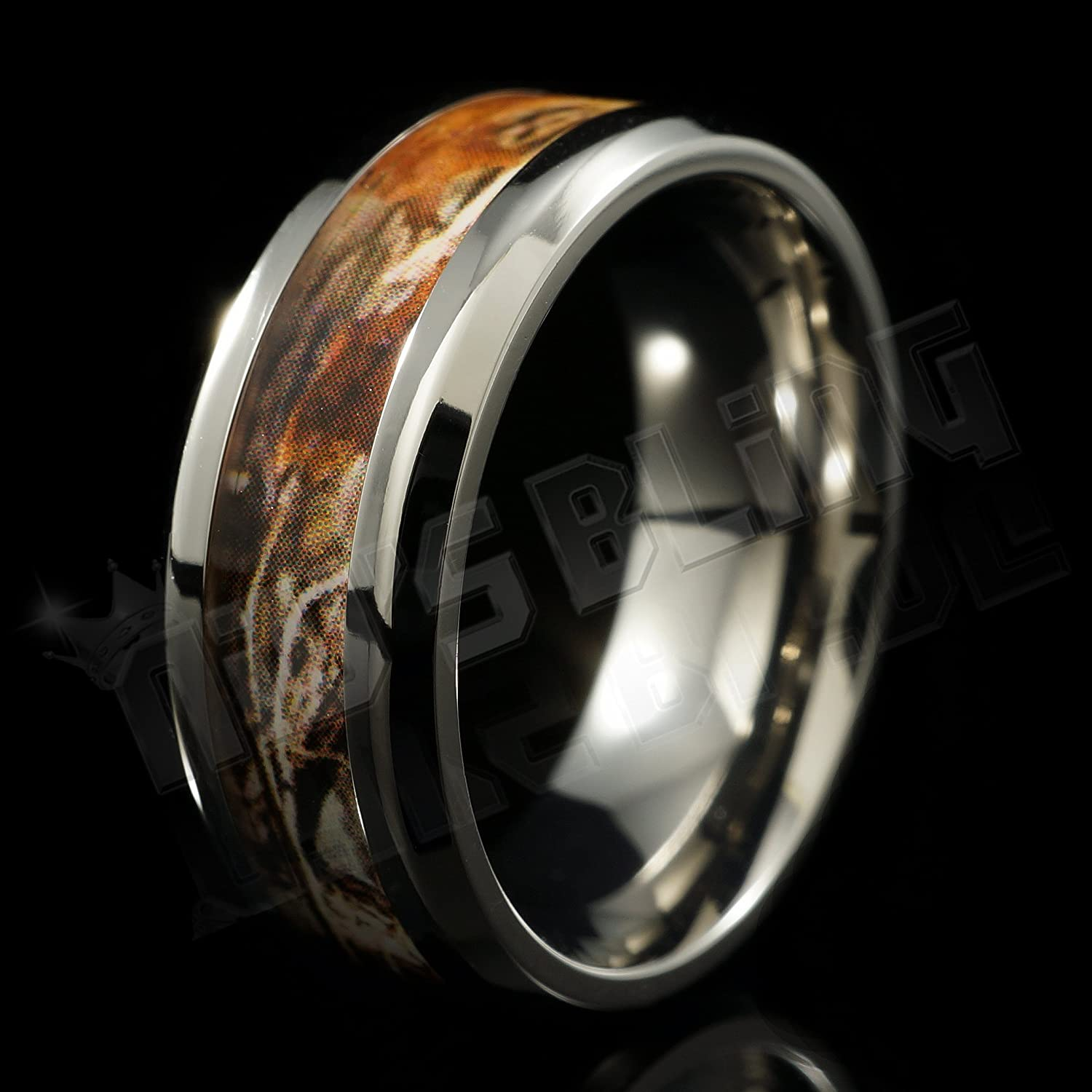 8MM Titanium Camo Inlay Wedding Band fort Fit Ring by Niv s