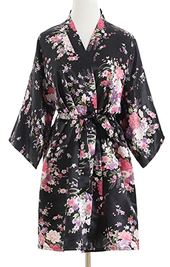 luxurysmart Cherry Blossoms Floral Satin Kimono Robe 5eca84308