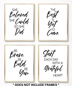 Brooke & Vine Inspirational Wall Art Prints, Women Office Wall Art Posters, (UNFRAMED 8 x 10), Inspirational Quotes Wall Decor Motivational Teen Girl Room Posters Bedroom, Dorm or Cubicle (Be Brave Be Bold Be You)