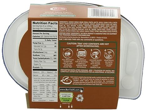 Amazon.com : Barilla Italian Entrees, Vegetable Marinara Whole Grain Fusilli, 9 Ounce (Pack of 6) : Fusilli Pasta : Grocery & Gourmet Food