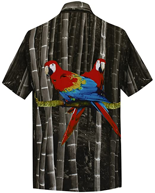 *La Leela* Loro Botón Casual Playa Vertical descendente Aloha Hawaiano Hombres Camisa Verde jV7ea