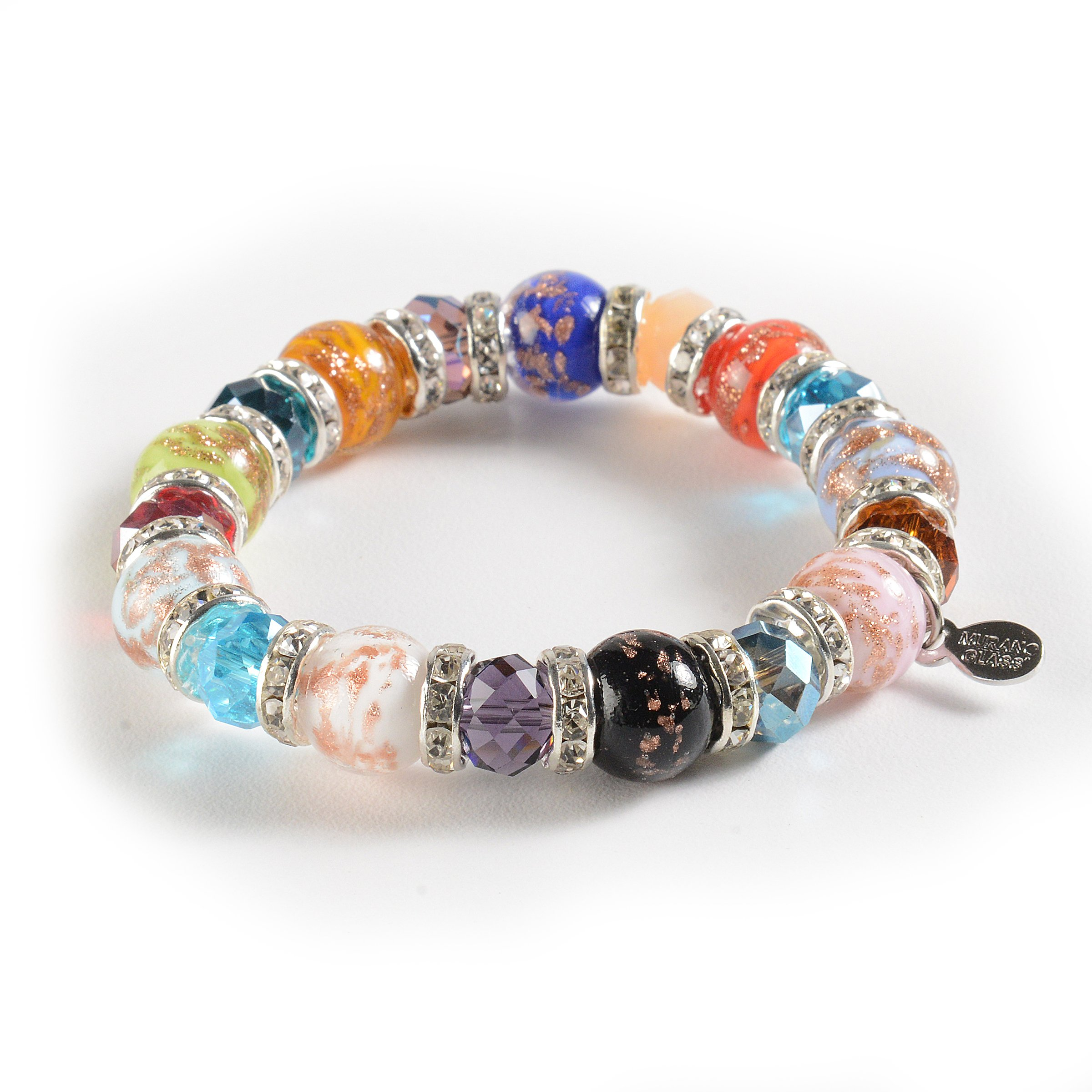Murano Glass Bracelet, Handmade Vibrant Murano Glass Beads, Elastic Stretch Bracelet, Each Murano Charm Bead is Unique, Colorful, and Exquisite – Murano Glass Jewelry for Women Necklace, Imported