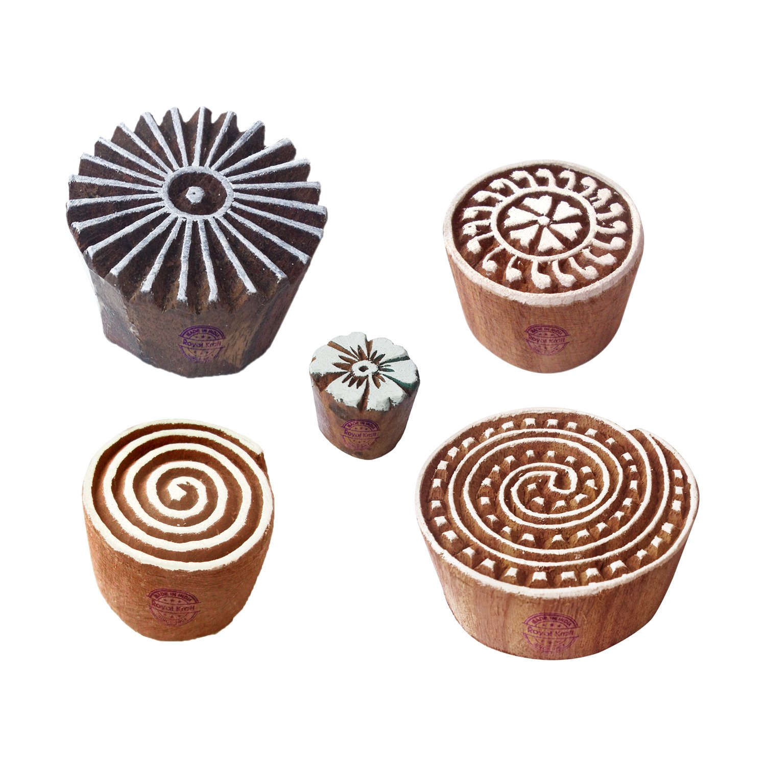 Royal Kraft Spiral and Floral Wood Block Stamps (Set of 5) to Make Henna Tattoos, Textile Block Prints, Scrapbook & Clay Projects