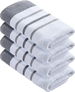 Turkish Cotton, Striped Hand Towel Set (16 x 30 inches) Oversized Decorative Luxury Hand Towels. Noelle Collection (Set of 4, Dark Grey / Light Grey)