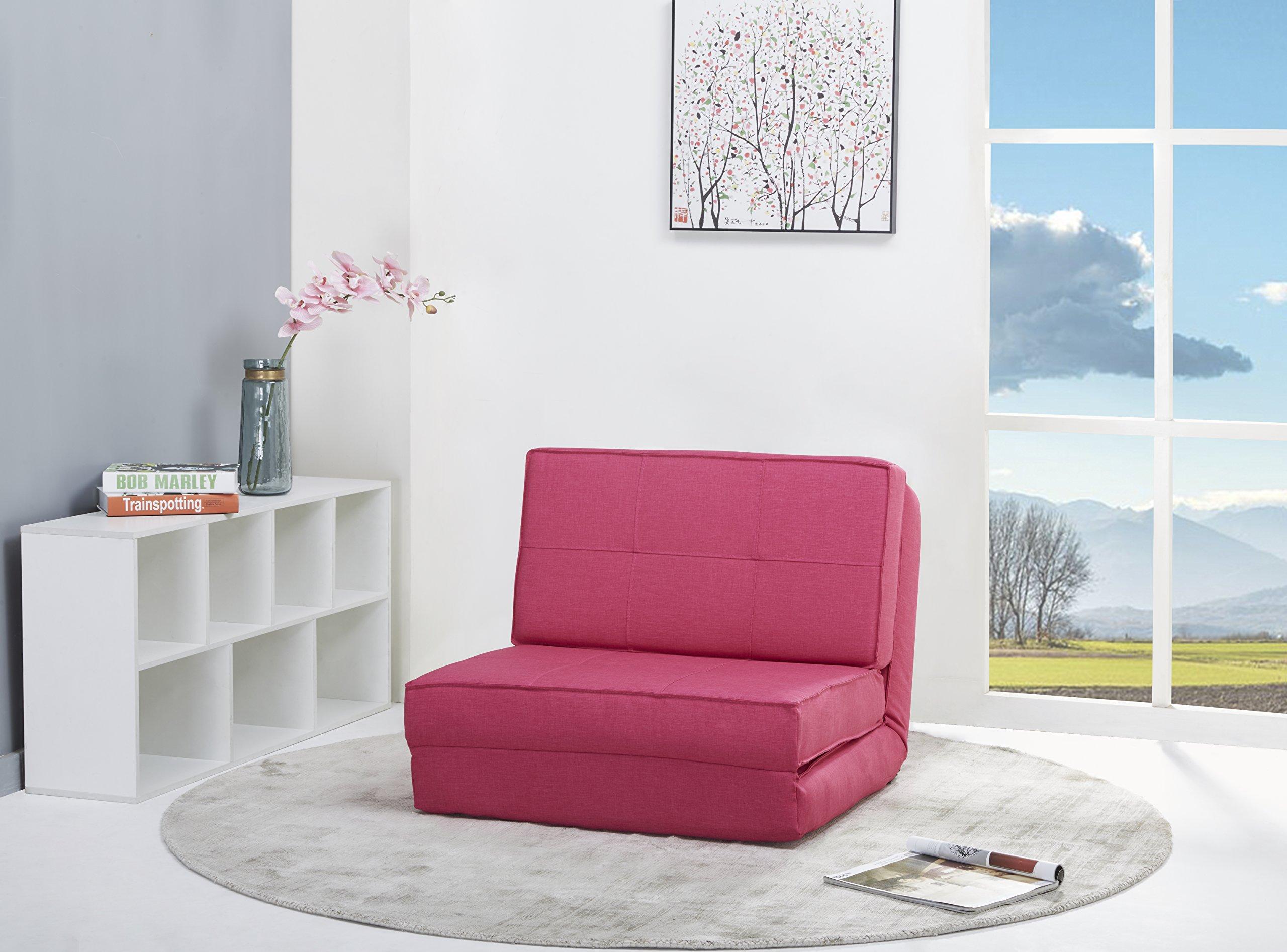 Sillón cama funda de tela rosa pequeño product image