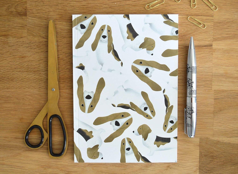 Basset Hound A5 Notebook **has GREY background**