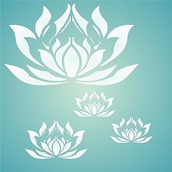 Grand pochoir mural r/éutilisable en forme de fleur de lotus orientale XXS