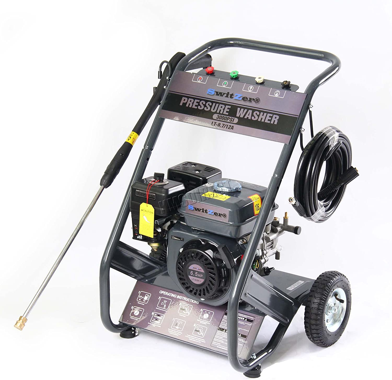 SwitZer Petrol Power Pressure Jet Washer 3000PSI 6.5HP Engine With Gun Hose
