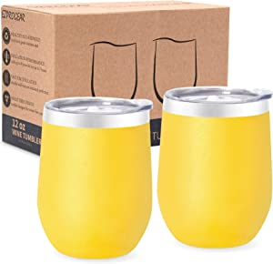 Ezprogear Stainless Steel 12 oz Double Wall Vacuum Insulated 2 Sets Wine Tumbler with Slider Lid (Cyber)