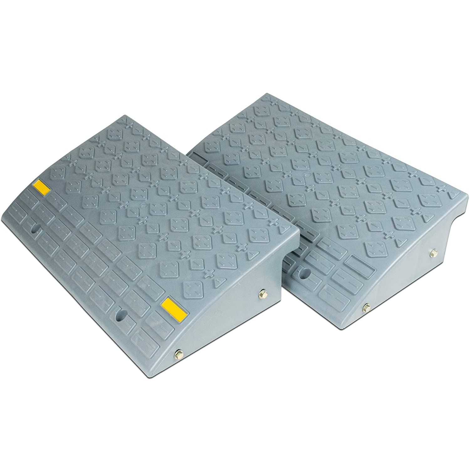 Set of Two Large 6 inch Tall Curb Ramps. Durable Multipurpose Ramp Set for Your Car Truck RV Trailer Cart or Handtruck.