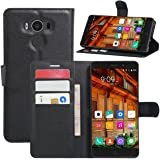 Elephone P9000 Case, Fettion Leather Wallet Phone Cases Flip Cover with Stand Card Holder for Elephone P9000 2016 Smartphone (Wallet - Black)