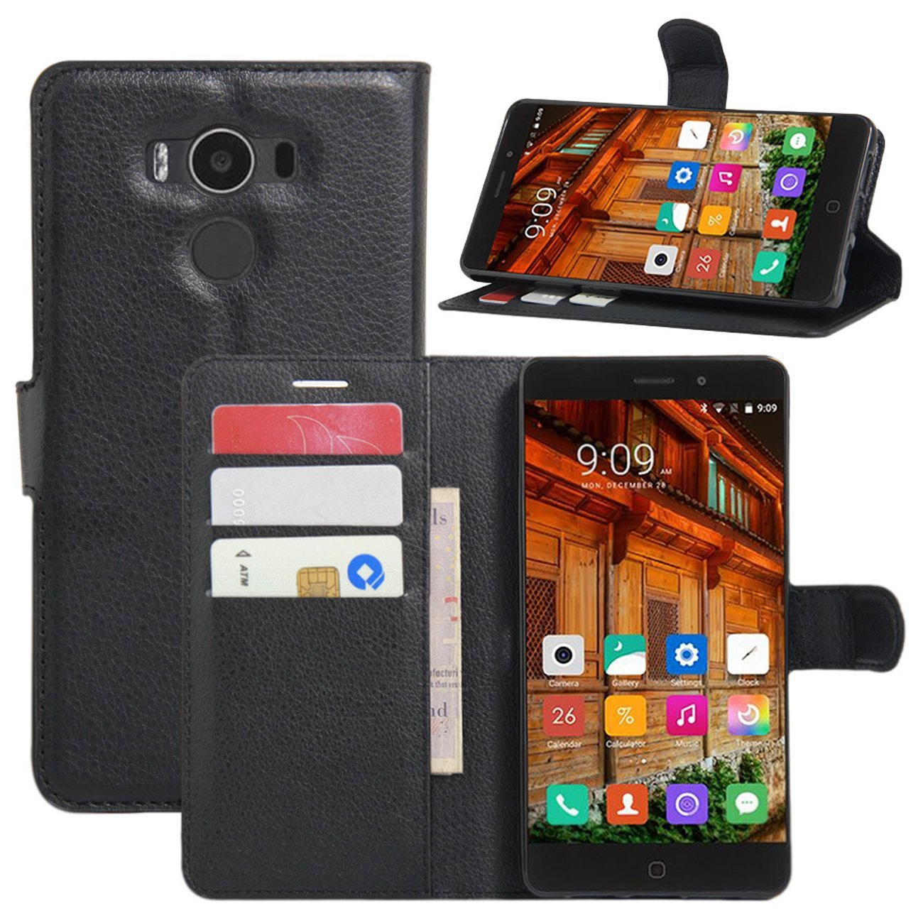 Amazon.com: Elephone P9000 Case, Fettion Leather Wallet Phone Cases ...
