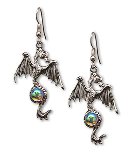 Lux Accessories Burnish Silver Dragons Front Back Earrings