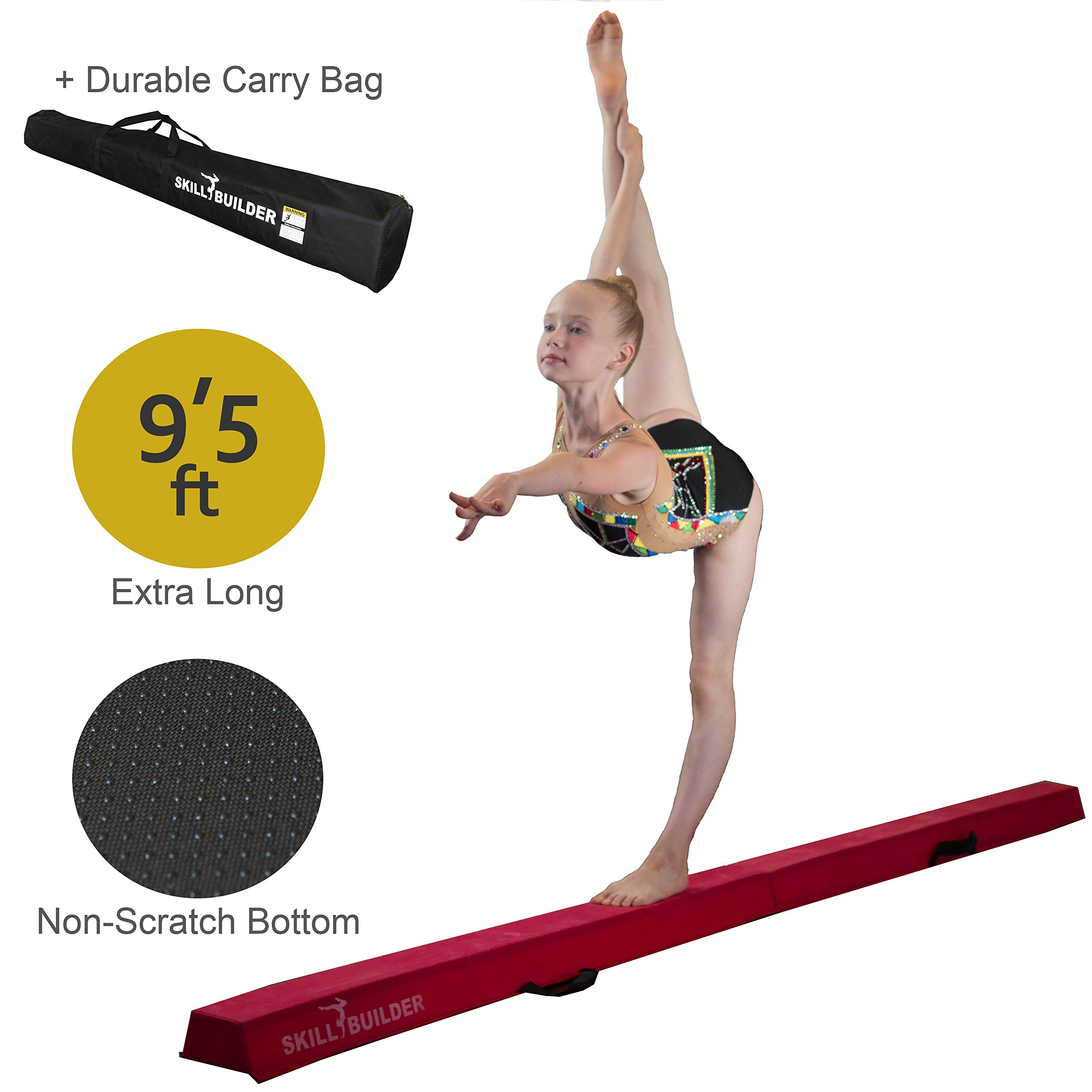 Foldable Gymnastics Beams for Home - 9.5 FT EXTRA LONG High-Density Portable Foam Balance Beam for Toddlers to Teens / Kids Gymnastics Equipment / Lightweight Red Practice Beam / Floor Beam