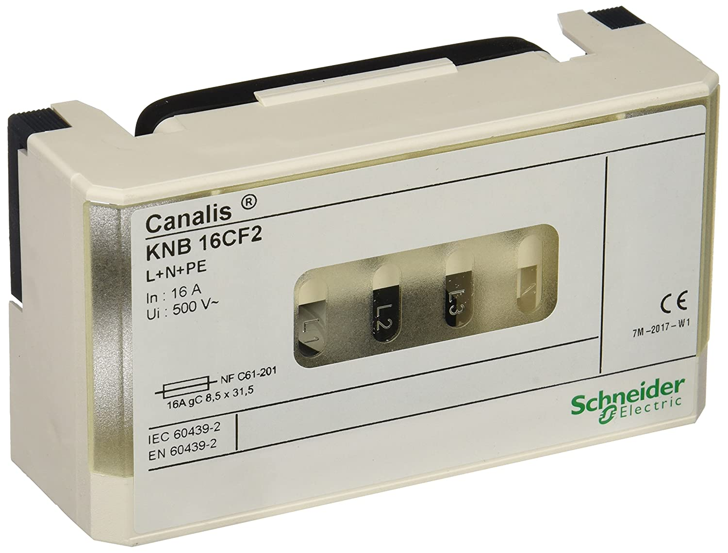 Schneider electric knb16cf2  conducteur/canal KN Boî te de dé rivation pour fusible NF 8.5  x 31.5  mm, l + N + PE, 16  A, 230  –   500  V, 50/60  Hz, Blanc 16 A 230 - 500 V 50/60 Hz